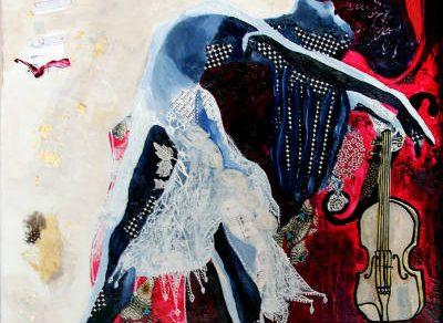 une danseuse et son violon-peinture à l'huile