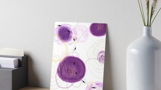Art-abstrait-formes-organiques-rondes-Création-picturale-couleurs-violet-et-jaune