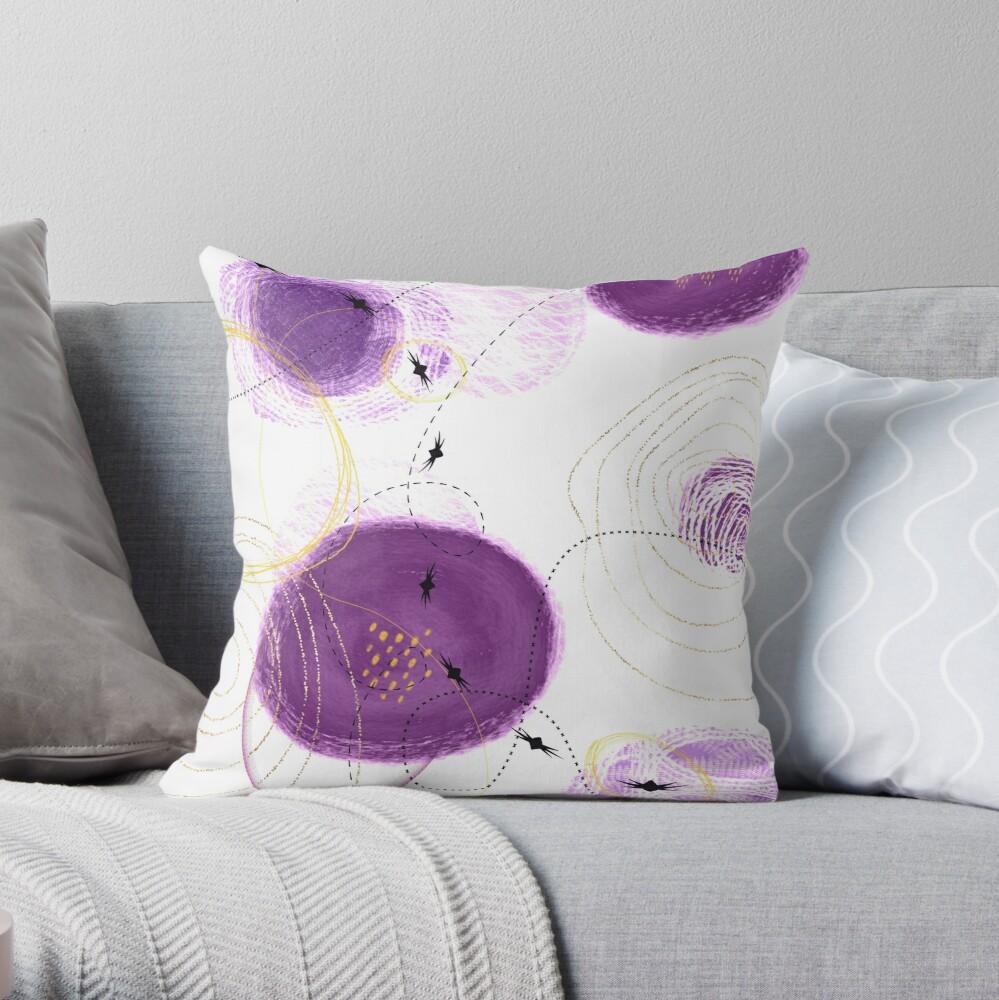création-picturale-abstraite-formes-rondes-couleurs-violet-et-jaune