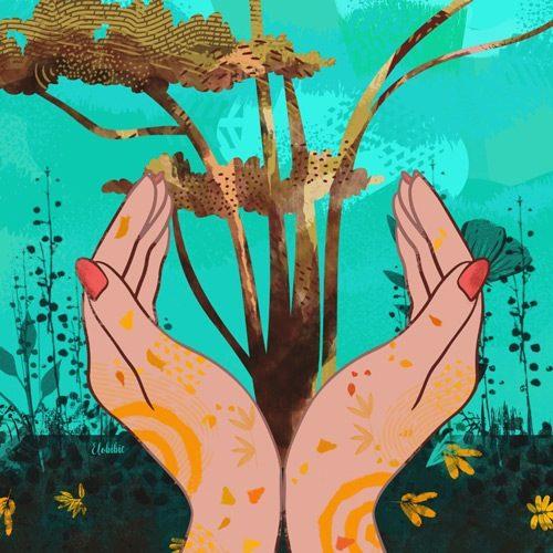 des mains avec un arbre au milieu